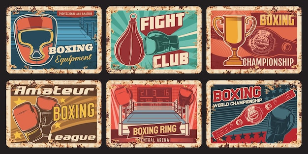 ボクシング選手権、スポーツ用品店のさびた金属板。ボクシンググローブとヘッドギア、サンドバッグ、チャンピオンカップとベルト、リングベクトル。ファイトクラブ、アマチュアスポーツリーグレトロバナー