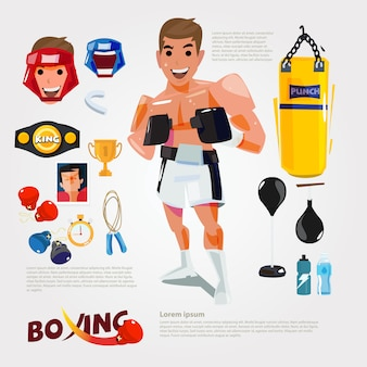 Boxing character with gym training equipment