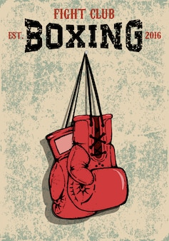 Boxing club emblem. two boxing gloves in grunge style.