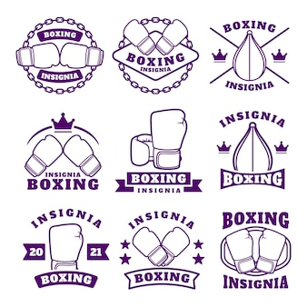 Boxing club labels emblems badges set, boxing related design elements for prints, logos or posters