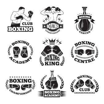 Boxing club, or mma fighting labels. monochrome