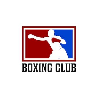 Боксерский клуб силуэт логотип вдохновение вектор иллюстрации