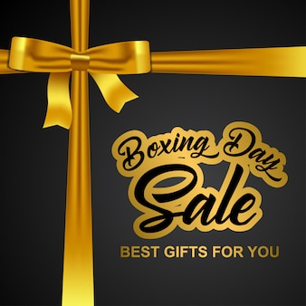 Boxing day background with realistic golden bow