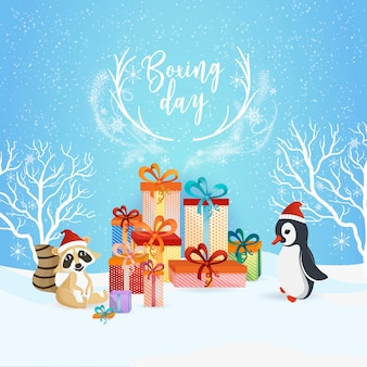 Boxing day blue background design