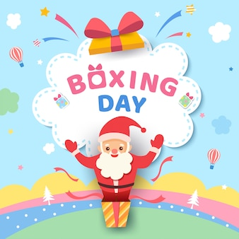 Boxing day design with santa claus in the box on cute pastel color.