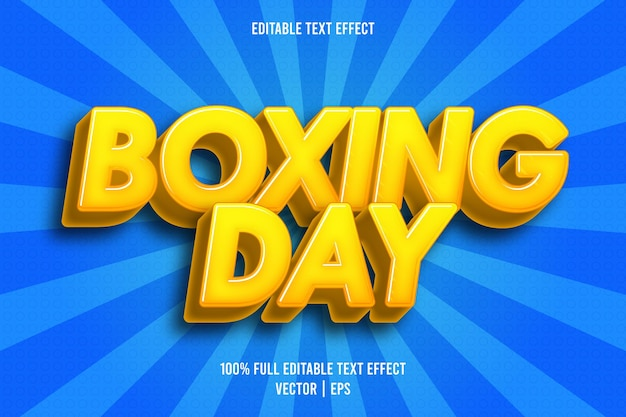 Boxing day editable text effect comic style