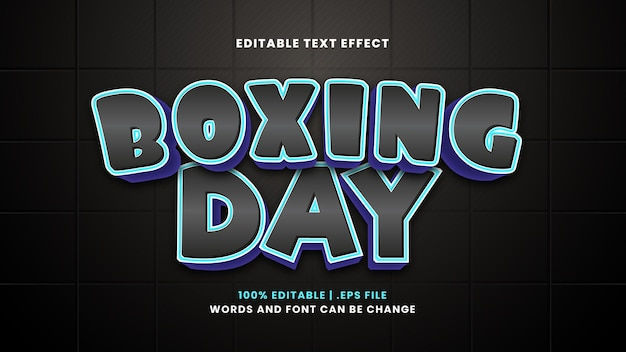 Boxing day editable text effect in modern 3d style