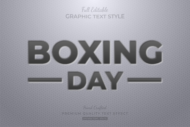 Boxing day embossed editable text style effect premium