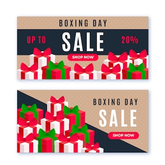 Boxing day flat design sale banners