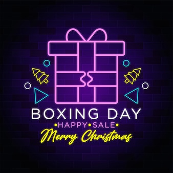 Boxing day happy sale - merry christmas neon text with christmas gift box