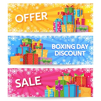 Boxing day. holiday gift boxes with ribbon, xmas or wedding gifts, birthday presents, christmas offer promotion, big sale vector banners set. illustration box gift discount, boxing christmas surprise