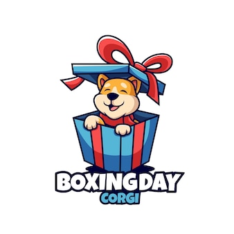 Boxing day instagram post template with corgi dog