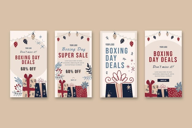 Boxing day instagram stories templates