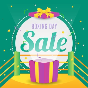 Boxing day sale banner with box in the ring promotion illustration vector
