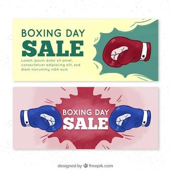 Боксерский рекламный баннер с боксерскими перчатками