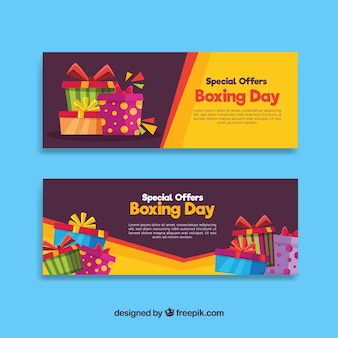 Boxing day sale banner with yellow background