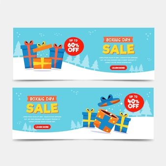Boxing day sale banners in flat design Premium Vector