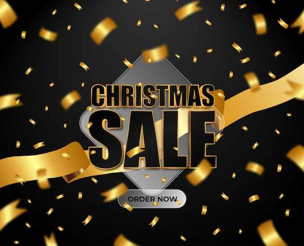 Boxing day sale black gold text effect exclusive golden ribbon confetti