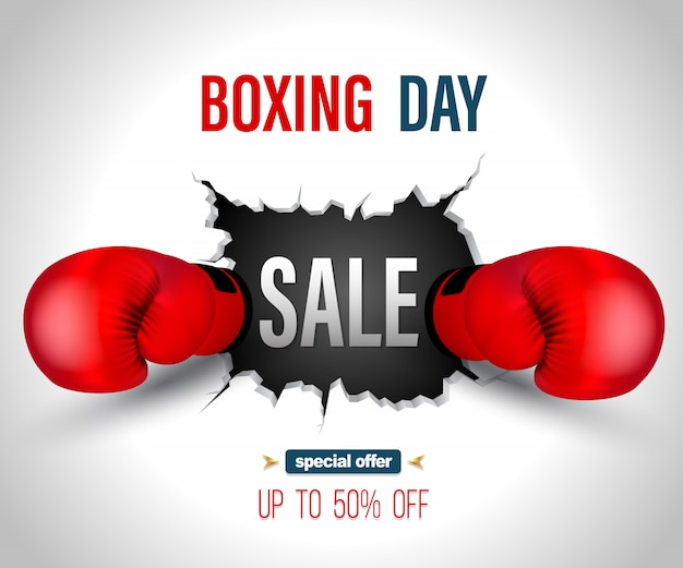 Boxing day sale on crack wall with punch poster template