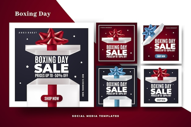 Boxing day sale instagram post set