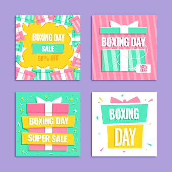 Boxing day sale instagram posts set