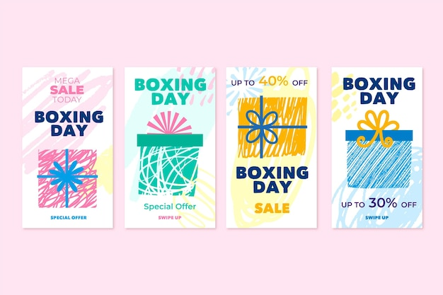 Boxing day sale instagram stories set