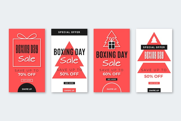 Boxing day sale instagram story set
