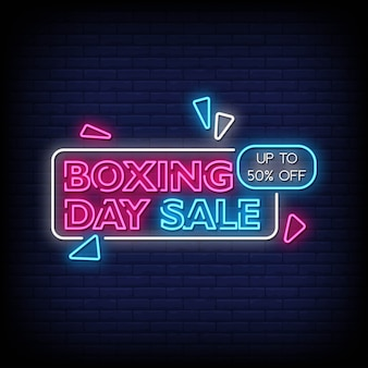 Boxing day sale neon signs style text vector