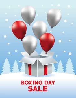 Boxing day sale poster with balloons helium in giftbox vector illustration design
