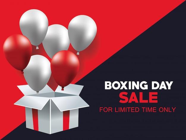 Плакат продажи дня рождественских подарков с гелием воздушных шаров в дизайне иллюстрации вектора giftbox