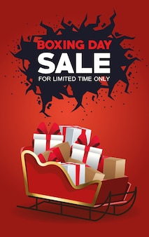 Boxing day sale poster with santa claus sled and gifts vector illustration design