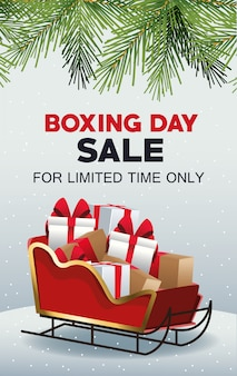 Boxing day sale poster with santa claus sled and gifts