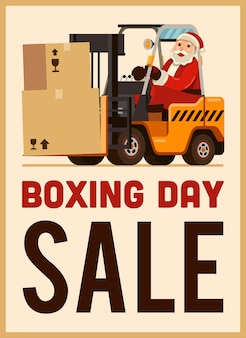 Boxing day sale santa claus drive forklift