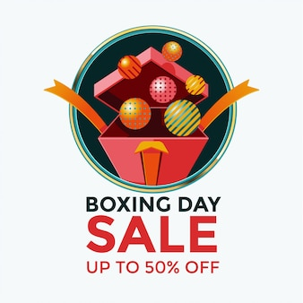Boxing day sale template design with open gift box illustration