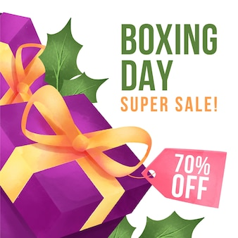 Boxing day sale in watercolor