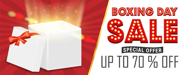 Boxing day sale with gift box open promote banner