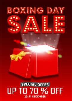Boxing day sale with gift box open promote poster