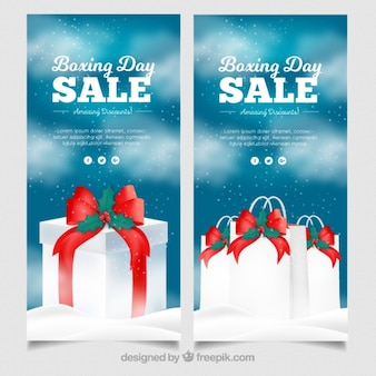 Boxing day sales banners with christmas gifts