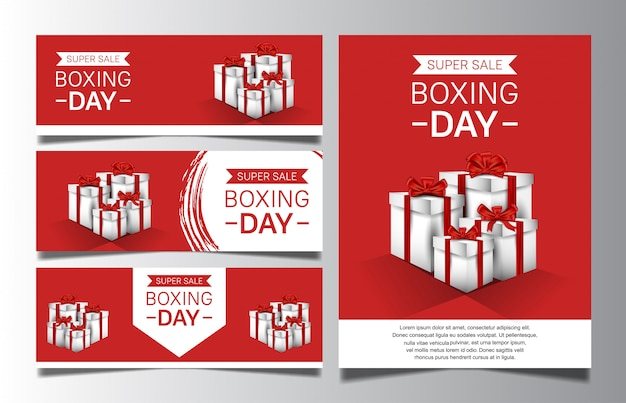 Boxing day set with gift box for sale banner template or poster