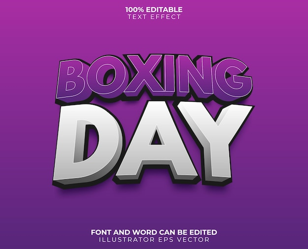 Boxing day text effect sale purple gray gradient full editable vector