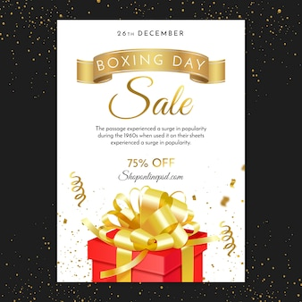 Boxing day with gift and ribbons