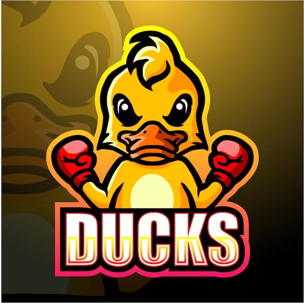Boxing duck mascot esport illustration