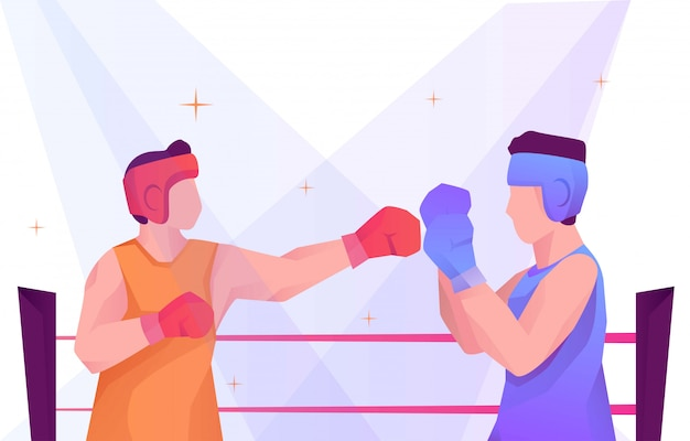 Boxing duel versus flat illustration