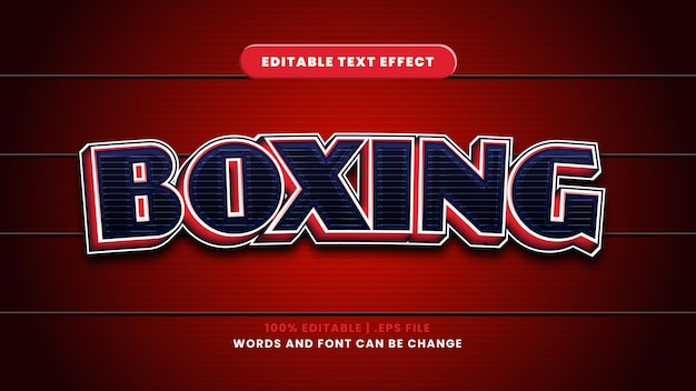 Boxing editable text effect in modern 3d style
