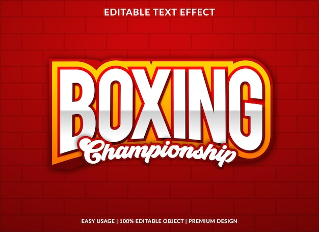 Boxing editable text effect template premium style