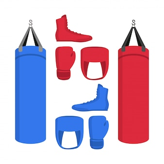 Boxing equipment set of icons. sport collections of boxer shoes, punching bag, gloves in red and blue.