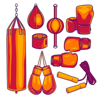 Boxing equipment tools set vector isolated on white background