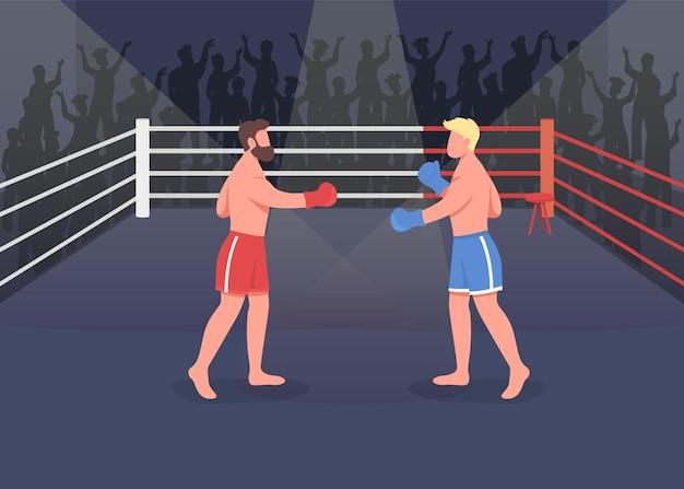 ボクシング イベント フラット。 2 人の強力なプロがチャンピオンシップを獲得するために戦っています。ボクシング リングの近くにたくさんの人がいる強いボクサーの 2d 漫画のキャラクター