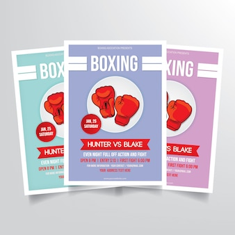 Boxing flyer template vector