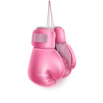 Boxing glove hanging on lace